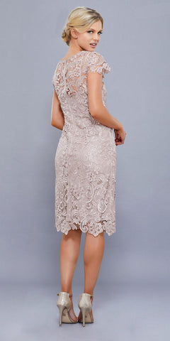 Short Vintage-Like Lace Dress Sand Cap Sleeves
