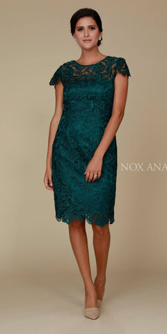 Short Vintage-Like Lace Dress Teal Cap Sleeves