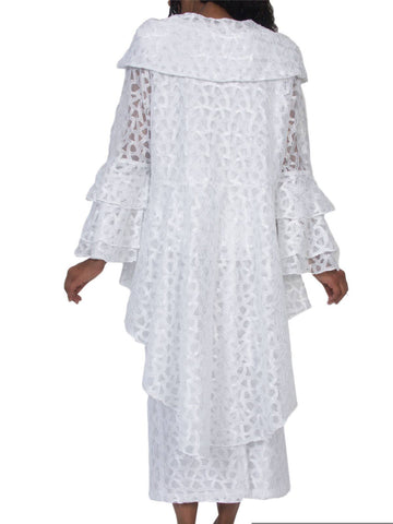 Hosanna 5072 Plus Size 3 Piece Set White Tea Length Dress Back View