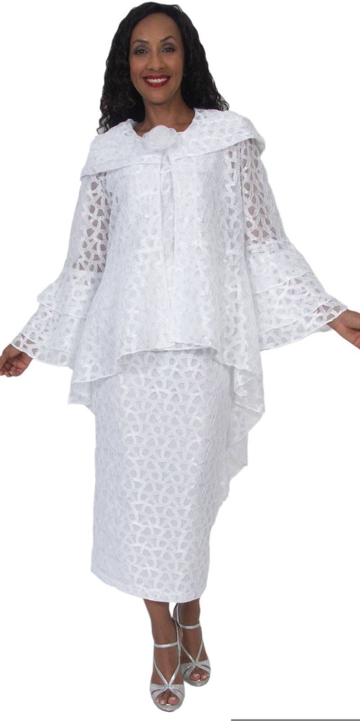 Hosanna 5072 Plus Size 3 Piece Set White Tea Length Dress