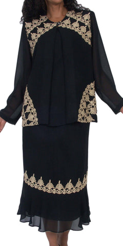 Hosanna 5077 Plus Size 3 Piece Set Black Tea Length Dress - Zoom