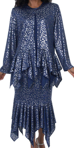 Hosanna 5081 Plus Size 3 Piece Set Navy Blue Tea Length Dress - Zoom
