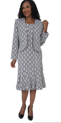Hosanna 5082 Plus Size 3 Piece Set Black/White Tea Length Dress