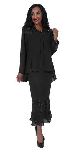 Hosanna 5083 Plus Size 3 Piece Set Black Tea Length Dress
