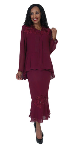 Hosanna 5083 Plus Size 3 Piece Set Burgundy Tea Length Dress