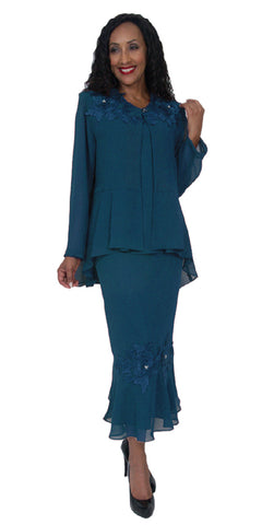 Hosanna 5083 Plus Size 3 Piece Set Teal Tea Length Dress