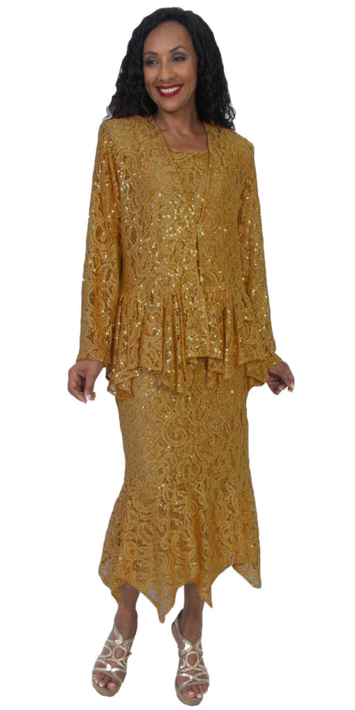 Hosanna 5084 Plus Size 3 Piece Set Gold Tea Length Dress - Zoom