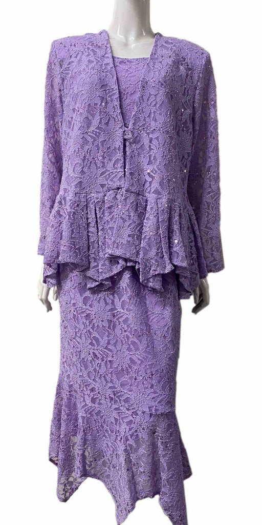 Hosanna 5084 Plus Size 3 Piece Set Lilac Tea Length Dress - Zoom