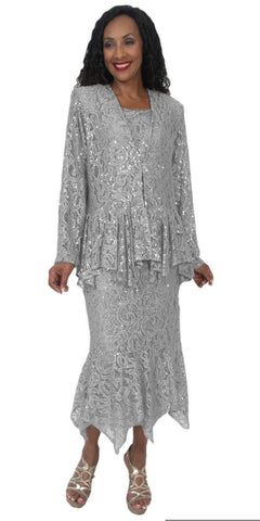 Hosanna 5084 Plus Size 3 Piece Set Silver Tea Length Dress