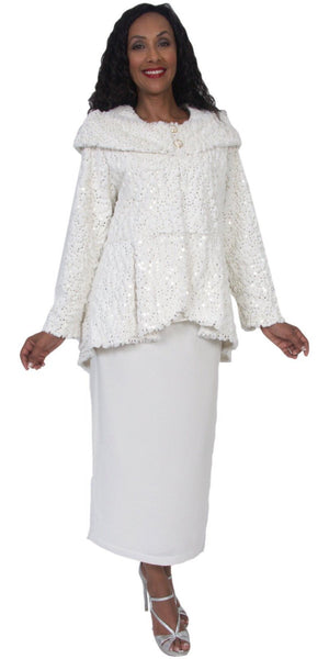 Hosanna 5085 - Tea Length Plus Size White Dress 3 Piece Set
