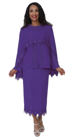 Hosanna 5087 Plus Size 3 Piece Set Purple Ankle Length Dress