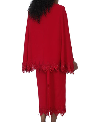Hosanna 5087 Plus Size 3 Piece Set Red Ankle Length Dress