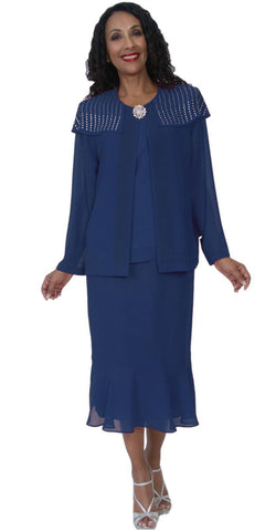 Hosanna 5092 Plus Size 3 Piece Set Navy Blue Tea Length Dress