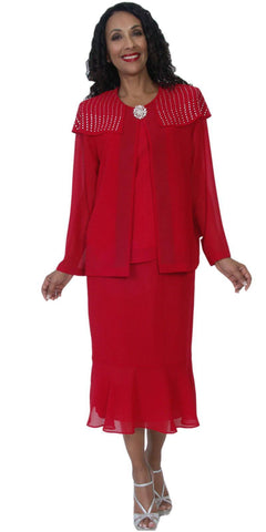 Hosanna 5092 Plus Size 3 Piece Set Red Tea Length Dress