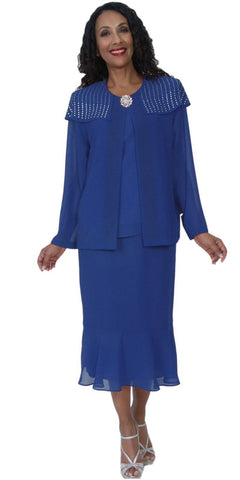 Hosanna 5092 Plus Size 3 Piece Set Royal Blue Tea Length Dress