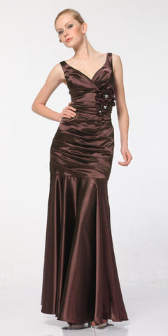 Brown Mermaid Dress Plus Size Pleated Bodice Floral Detail Gown