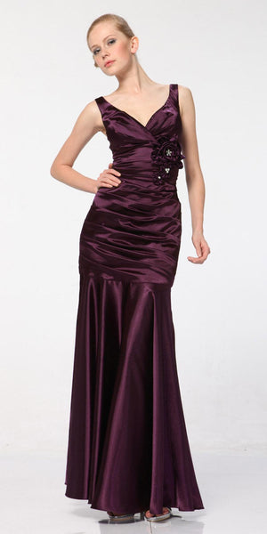Eggplant Mermaid Dress Plus Size Pleated Bodice Floral Detail Gown