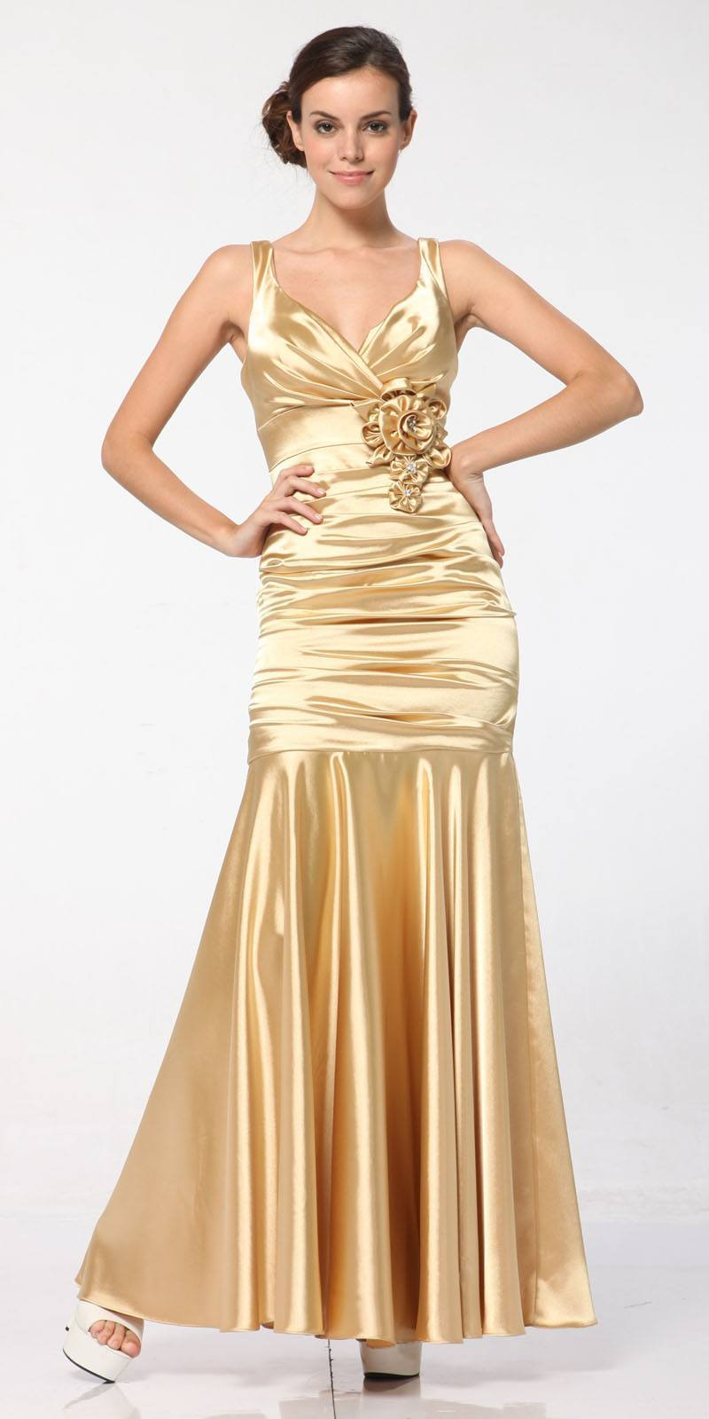 Gold Mermaid Dress Long Pleated Bodice Floral Detail Gown