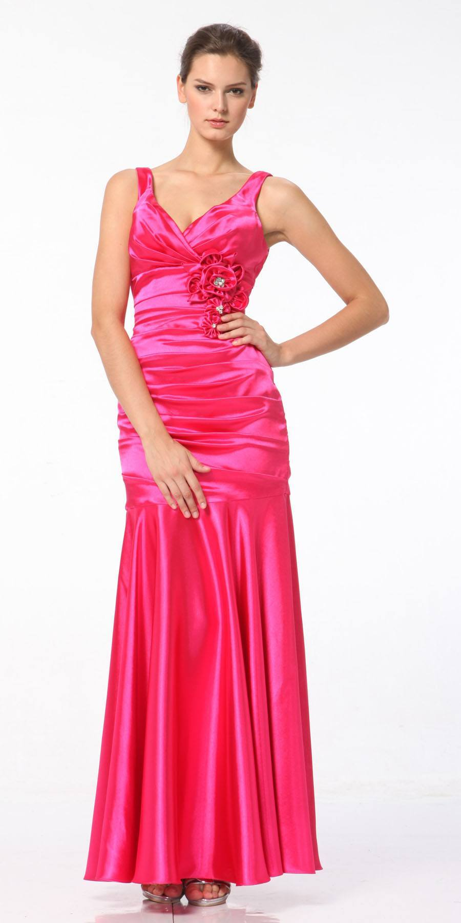 Hot Pink Mermaid Dress Long Pleated Bodice Floral Detail Gown