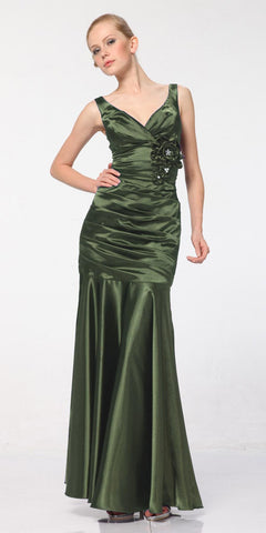 Olive Green Mermaid Dress Plus Size Pleated Bodice Floral Detail Gown