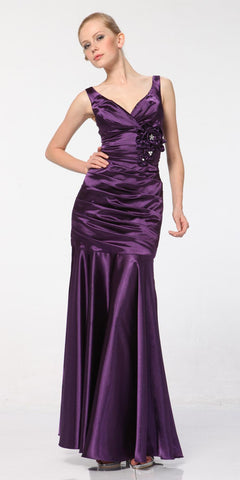 Purple Mermaid Dress Plus Size Pleated Bodice Floral Detail Gown