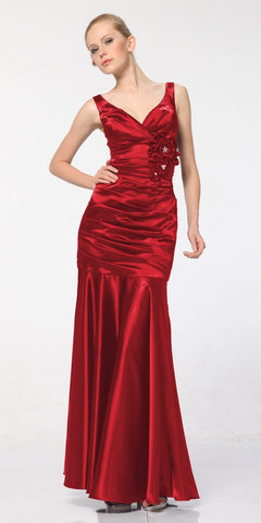 Red Mermaid Dress Plus Size Pleated Bodice Floral Detail Gown