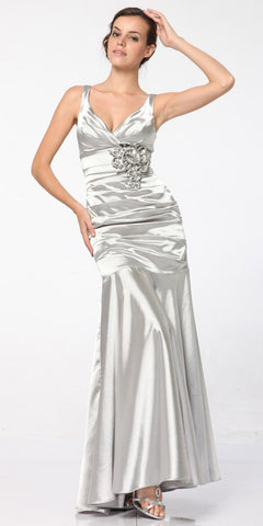 Silver Mermaid Dress Plus Size Pleated Bodice Floral Detail Gown