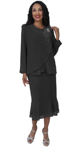 Hosanna 5098 Plus Size 3 Piece Set Black Tea Length Dress