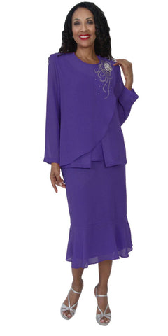 Hosanna 5098 Plus Size 3 Piece Set Purple Tea Length Dress