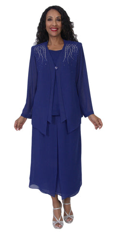 Hosanna 5099 Plus Size 3 Piece Set Navy Blue Tea Length Dress