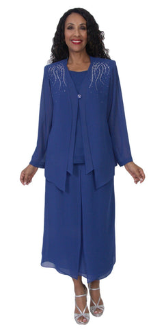 Hosanna 5099 Plus Size 3 Piece Set Royal Blue Tea Length Dress