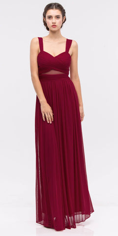 CLEARANCE - Red Bridesmaid Dress Poly Satin Formal Spaghetti Strap Gown (Size Small)