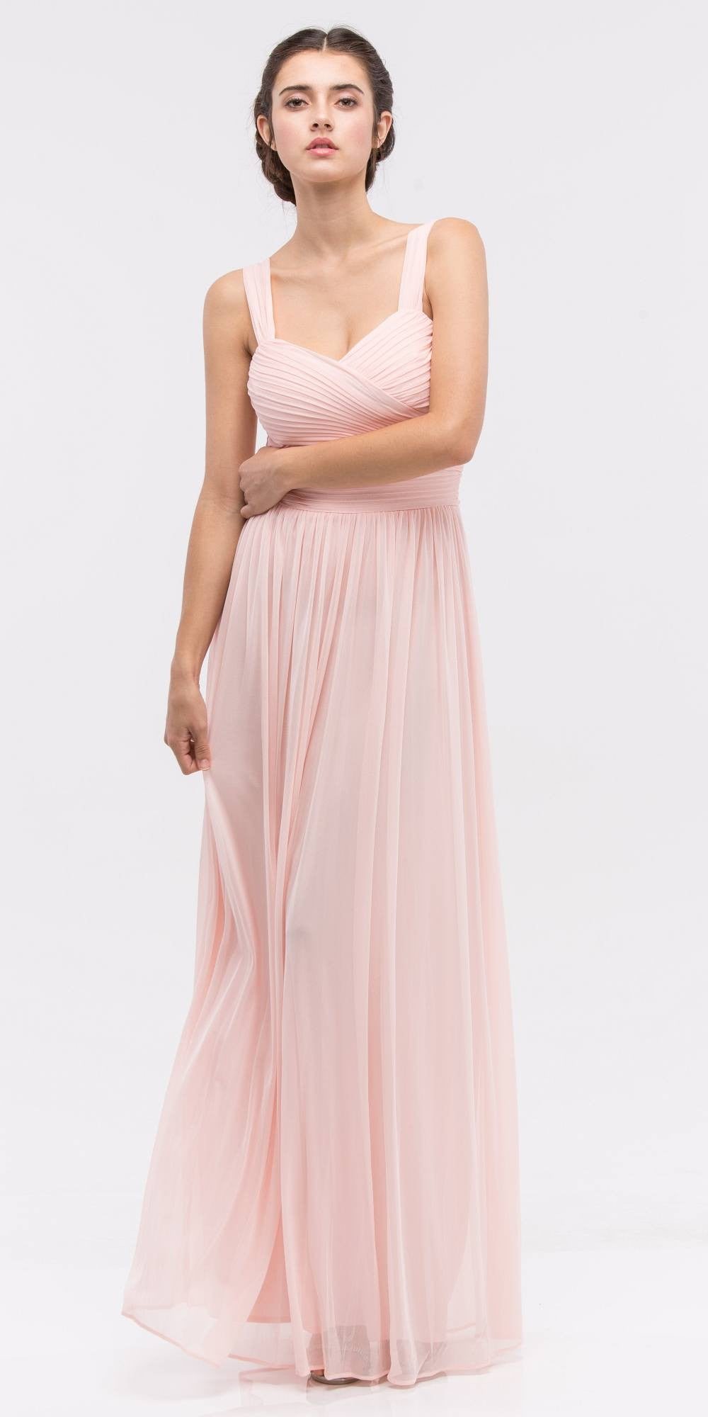 Blush Prom Gown Ruched Bodice Sweetheart Neckline Cut-Out Midriff