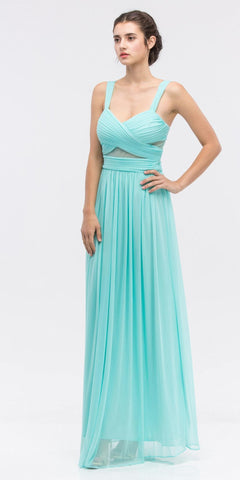 Sheer Yoke Jewel Neckline Long Mint A Line Formal Gown