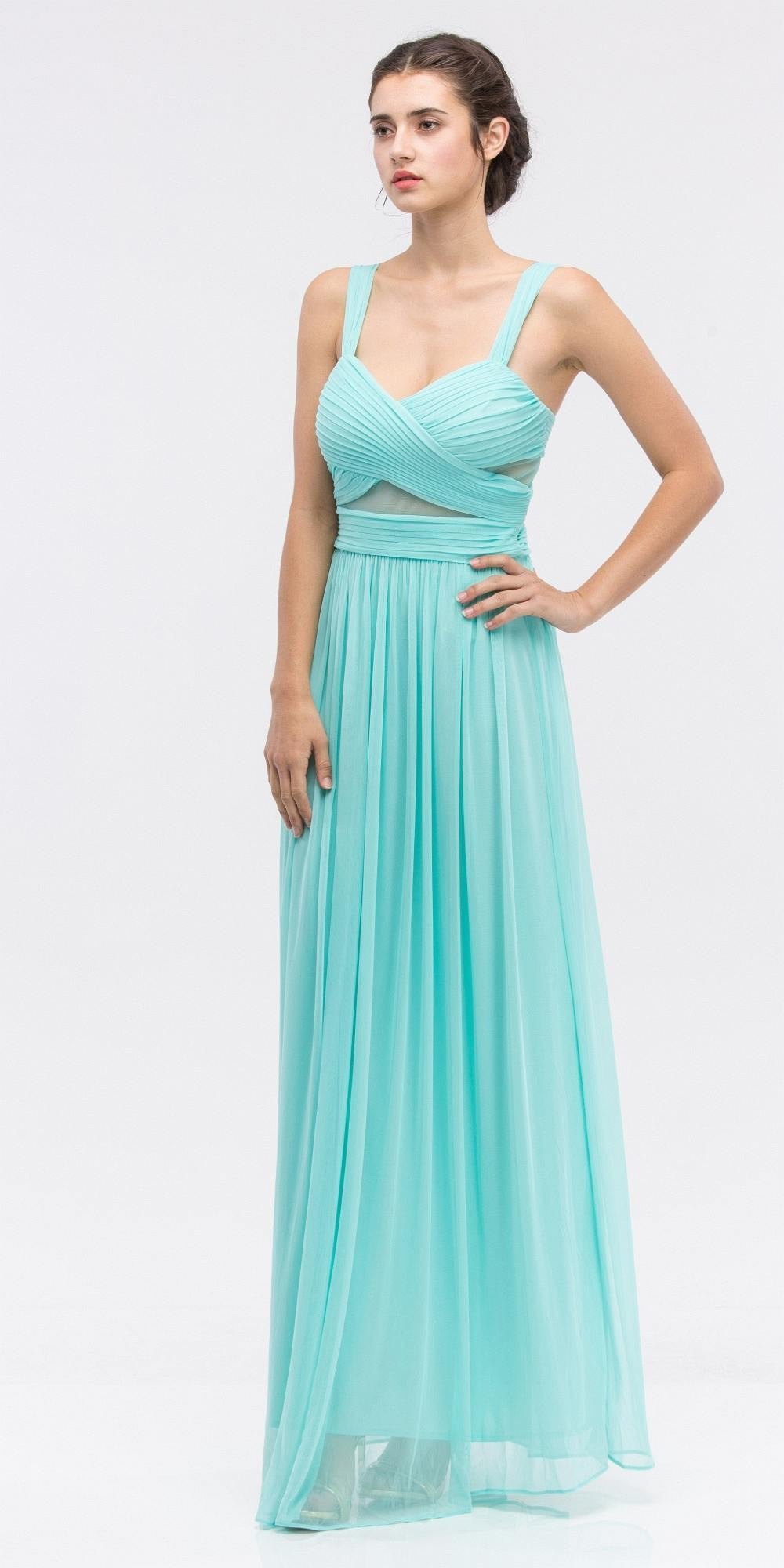 Mint Prom Gown Ruched Bodice Sweetheart Neckline Cut-Out Midriff