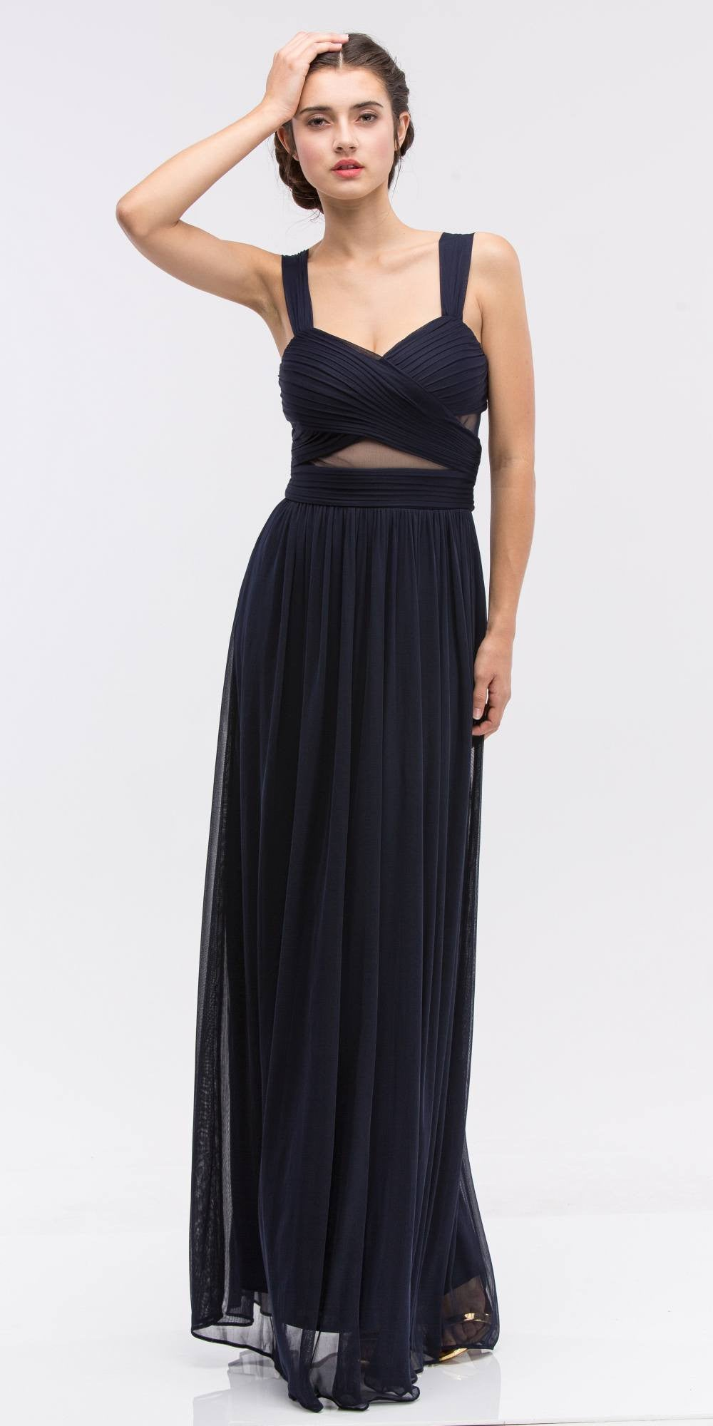 Navy Blue Prom Gown Ruched Bodice Sweetheart Neckline Cut-Out Midriff
