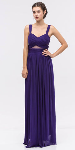 Purple Prom Gown Ruched Bodice Sweetheart Neckline Cut-Out Midriff