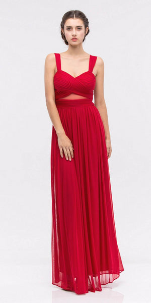 Red Prom Gown Ruched Bodice Sweetheart Neckline Cut-Out Midriff