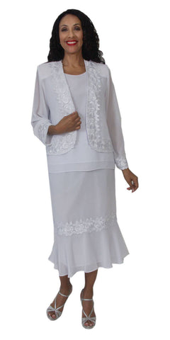 Hosanna 5101 Plus Size 3 Piece Set White Tea Length Dress
