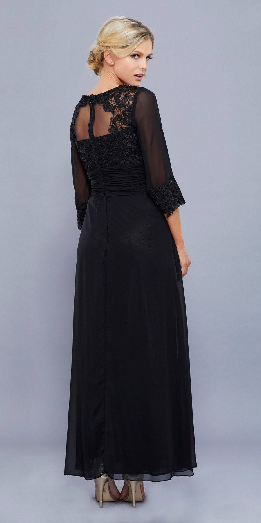 1ffe87f621fc1 ... Ankle Length Mother of Bride Dress Black Mid Sleeves Illusion ...