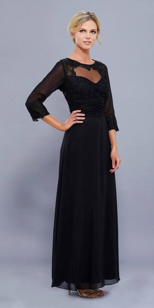 Ankle Length Mother of Bride Dress Black Mid Sleeves Illusion