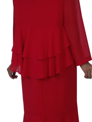 Hosanna 5103 Plus Size 3 Piece Set Red Tea Length Dress