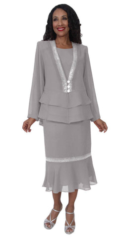 Hosanna 5103 Plus Size 3 Piece Set Silver Tea Length Dress