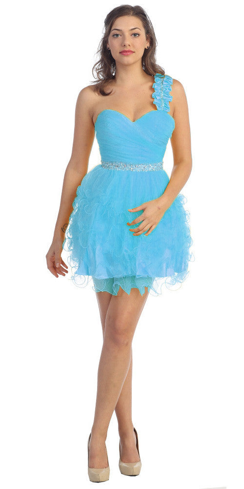 Ruched Bodice Short One Shoulder Tulle Turquoise Prom Dress