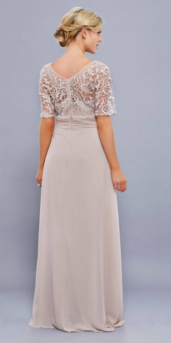 Mother of Groom V Neck Chiffon/Lace Dress Plum Short Sleeve