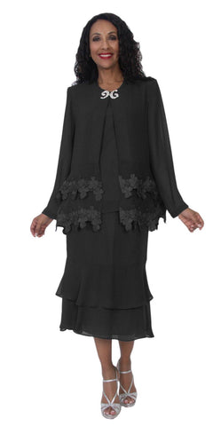 Hosanna 5107 Plus Size 3 Piece Set Black Tea Length Dress