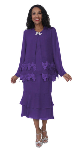 Hosanna 5107 Plus Size 3 Piece Set Purple Tea Length Dress