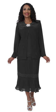 Hosanna 5109 Plus Size 3 Piece Set Black Tea Length Dress