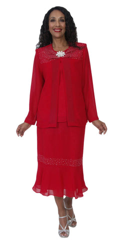 Hosanna 5109 Plus Size 3 Piece Set Red Tea Length Dress