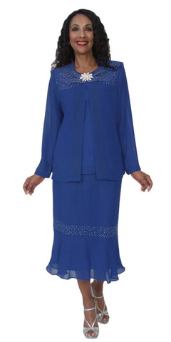 Hosanna 5109 Plus Size 3 Piece Set Royal Blue Tea Length Dress